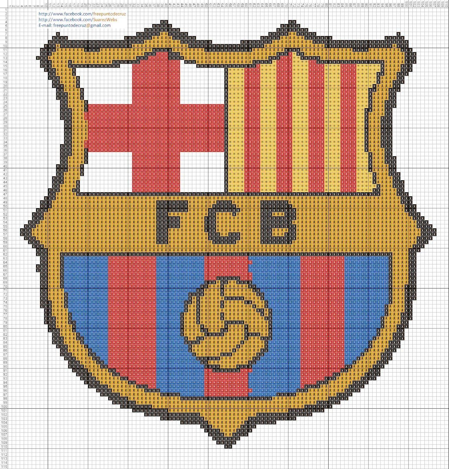 Escudo Barcelona punto de cruz 20 x 21 centímetros 110 x 115 puntos 5  colores DMC 4eefaadd2cf