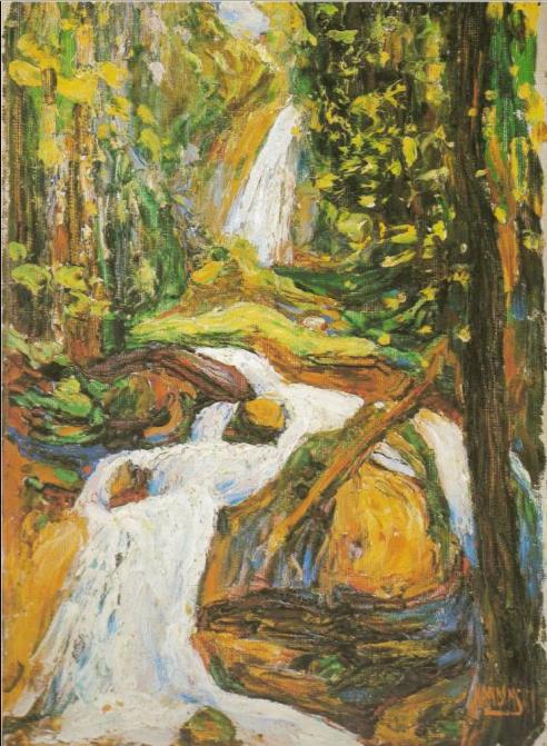 Kochel: Waterfall I | Wassily Kandinsky | 1900 davidcharlesfoxexpressionism.com #kochel #waterfall #kandinsky #expressionism #postimpressionism #impressionistart #abstractart