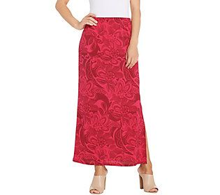 dfa67e3849 Susan Graver Petite Printed Liquid Knit Maxi Skirt | Products ...