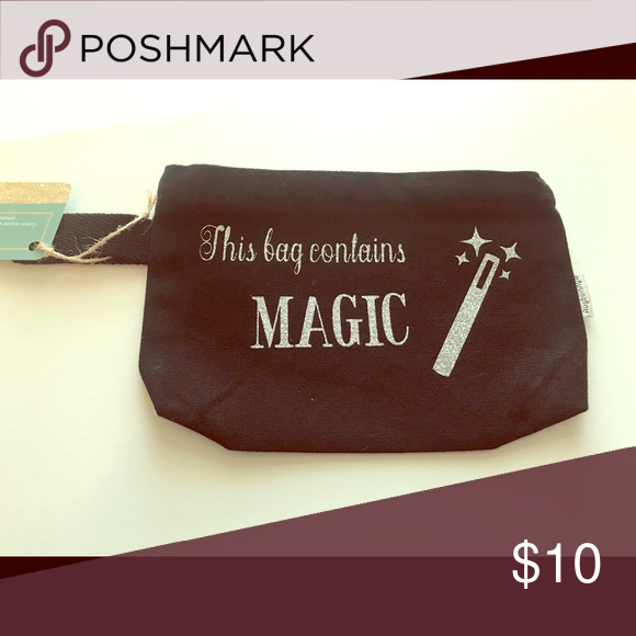 Makeup bag Black canvas makeup bag with silver glitter