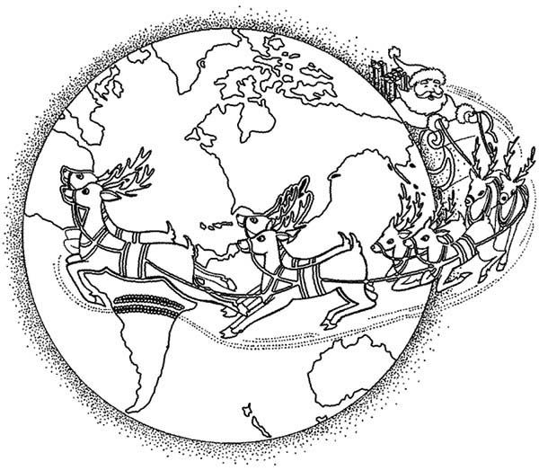 around the world santa claus around the world delivering present coloring page santa claus