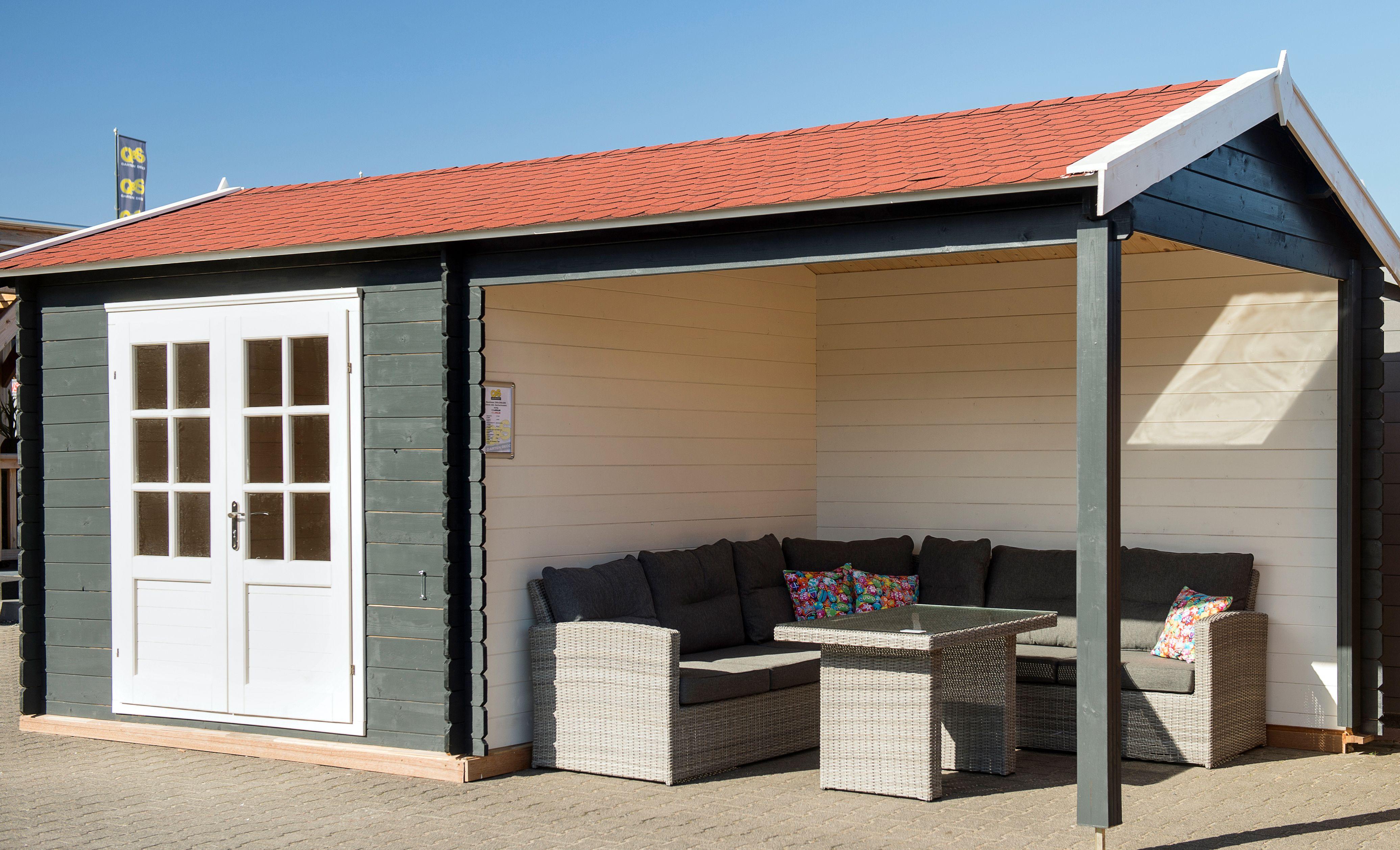 Gartenhaus mit überdachter Terrasse aus Holz, Maße