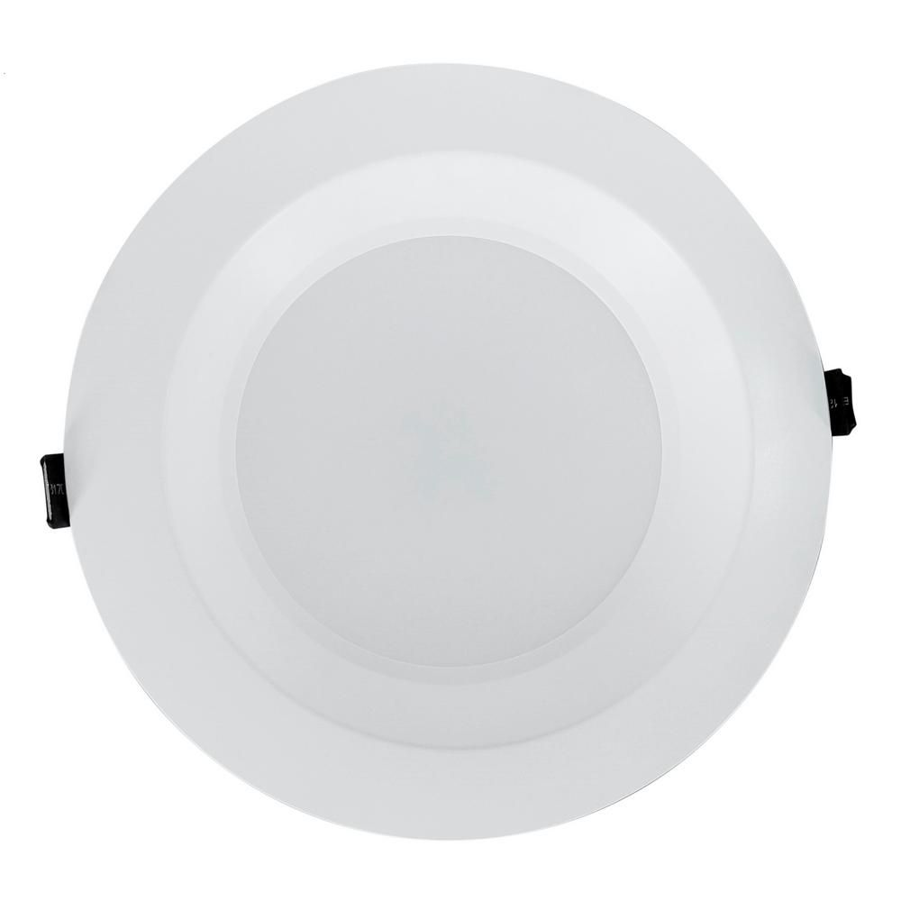 Nicor Housing Free 8 In White Integrated Led Recessed Downlight Kit In 3500k Clr8 10 Unv 35k Wh Downlights Led Home Depot
