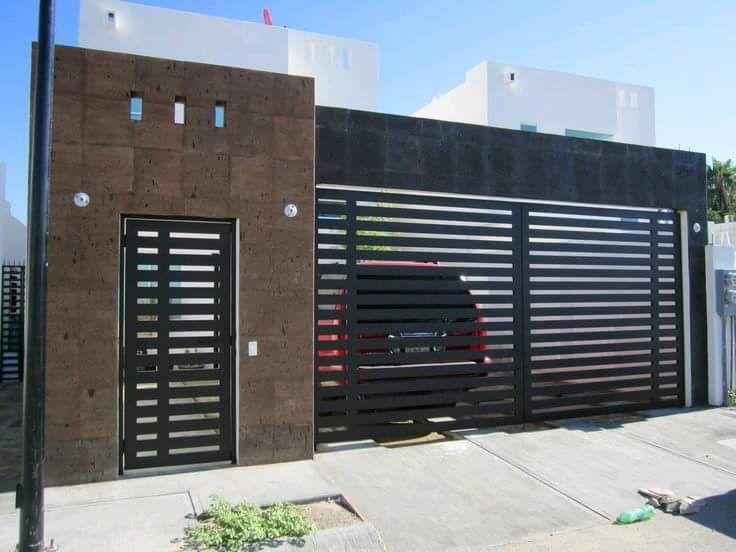 Fachada casas peque as tipo infonavit portones for Fachadas modernas para departamentos