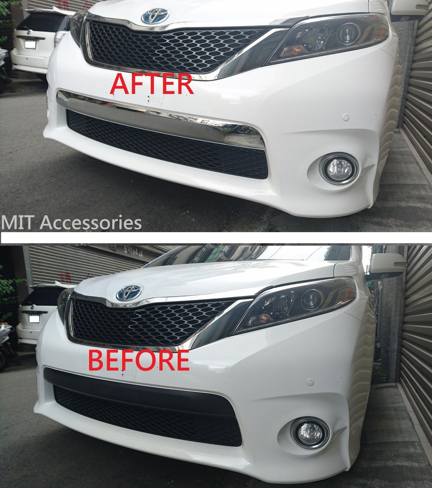 Awesome amazing toyota sienna 2011 2017 front bumper license cover chrome garnish trim se