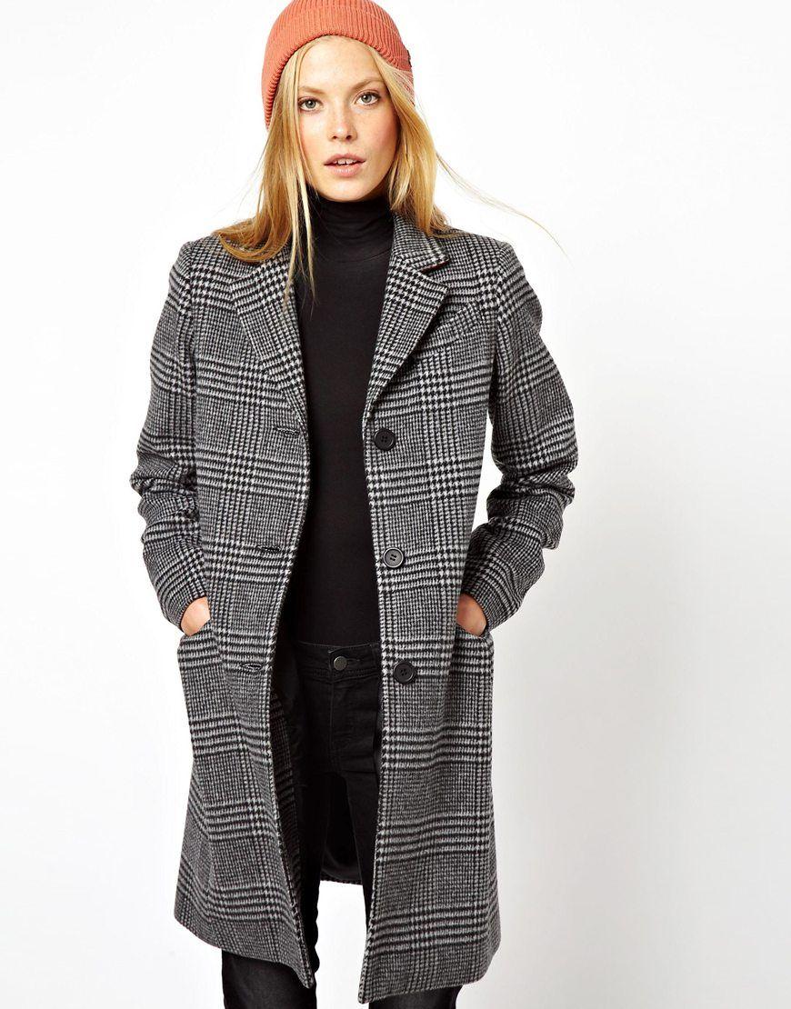 ASOS Mono Check Longline Coat | fashion wishlist | Pinterest ...