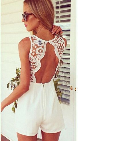 2016 New Arrival Tank Slim Women's sexy bodycon jumpsuit With Lace Patchwork playsuit Sleeveless