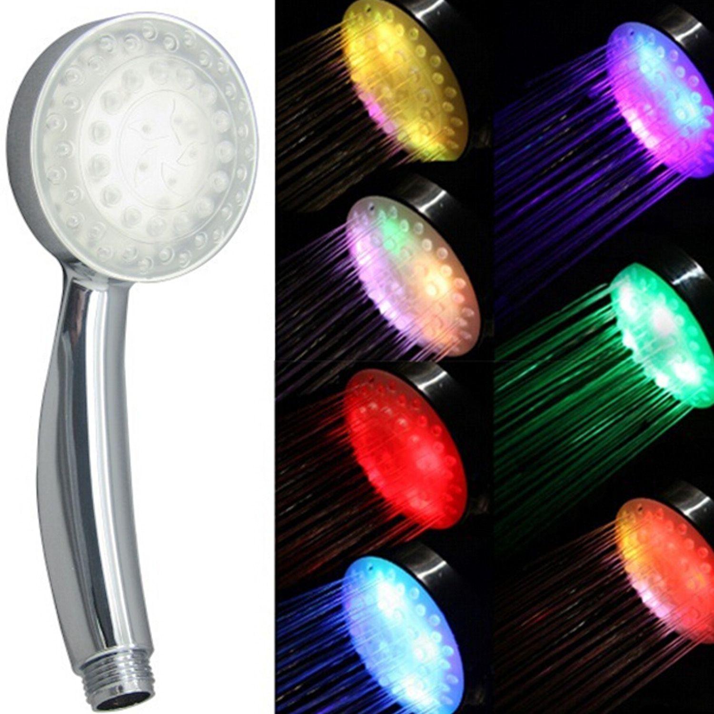 Romantic Automatic 7 Color LED Lights Handing Bath Shower Head Accessory