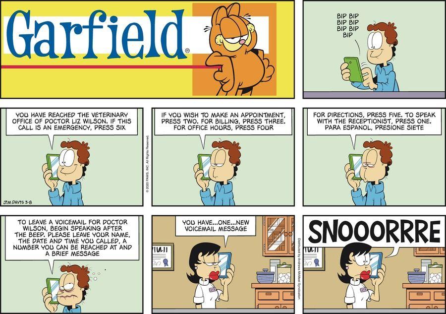 Garfield By Jim Davis For March 08 2020 Gocomics Com Garfield Comics Garfield And Odie Garfield