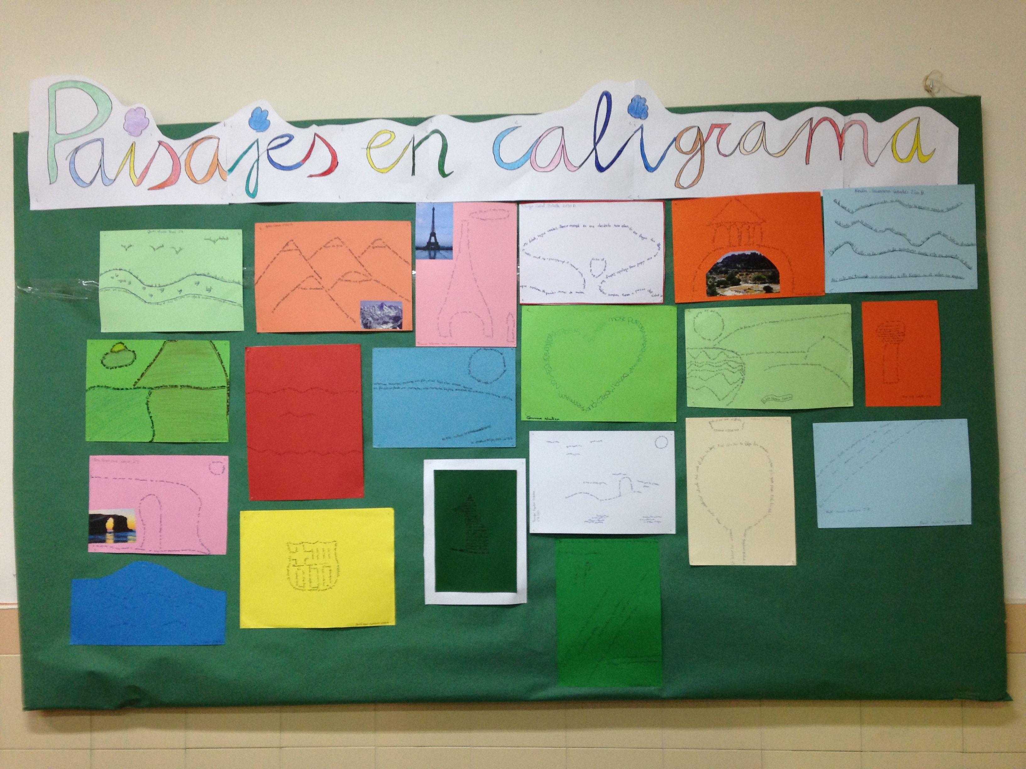 Caligramas elaborados por alumnos de 1º y 2º ESO, a partir de una imagen.