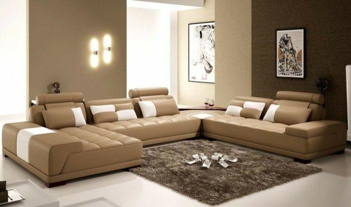43 super ideen f r braune wandgestaltung wandgestaltung ideen wohnzimmer sofa m bel - Braune wandgestaltung ...