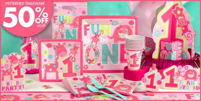 Wild At One Girls 1st Birthday Party Supplies