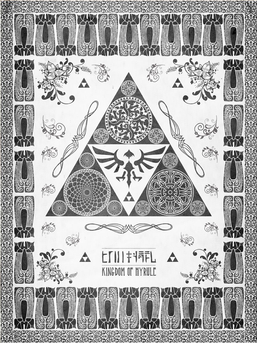 This would make an excellent template for my tatoo! Legend of Zelda Triforce of Hyrule Letterpress Poster by ~studiomuku