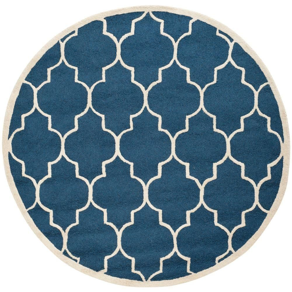 Cambridge Navy Ivory Blue Ivory 8 Ft X 8 Ft Round Area Rug