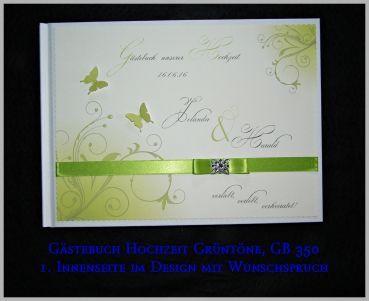 CreativDS - Gästebuch Hochzeit, Geschenk, Türkis, Maigrün, GB 350