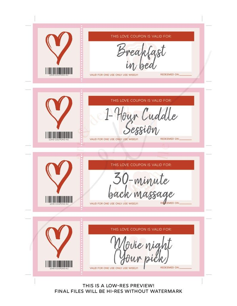 Printable Love Coupons Instant Download Romantic Gift Etsy In 2021 Love Coupons Love Coupons For Him Romantic Gifts For Him
