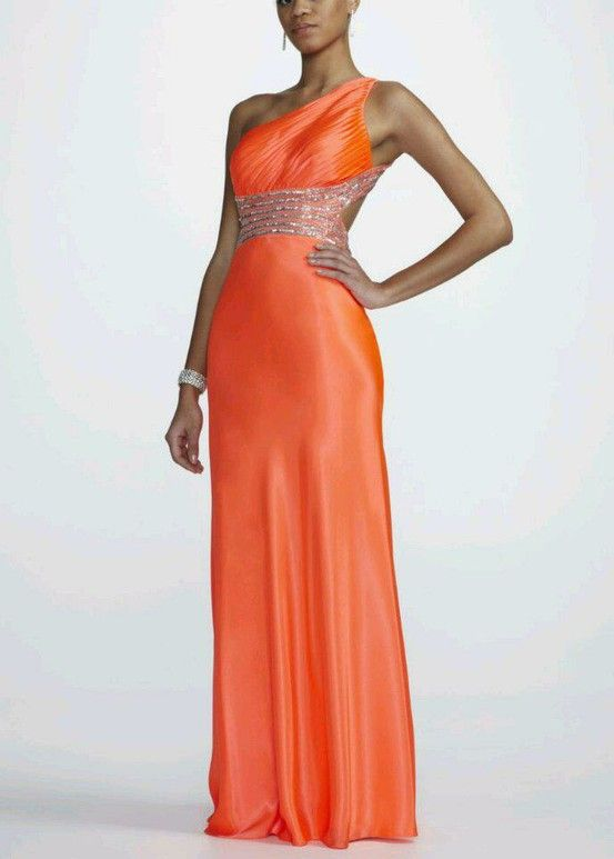 From David's Bridal   One Shoulder Neon Gown with Illusion Waist Style A11317D
