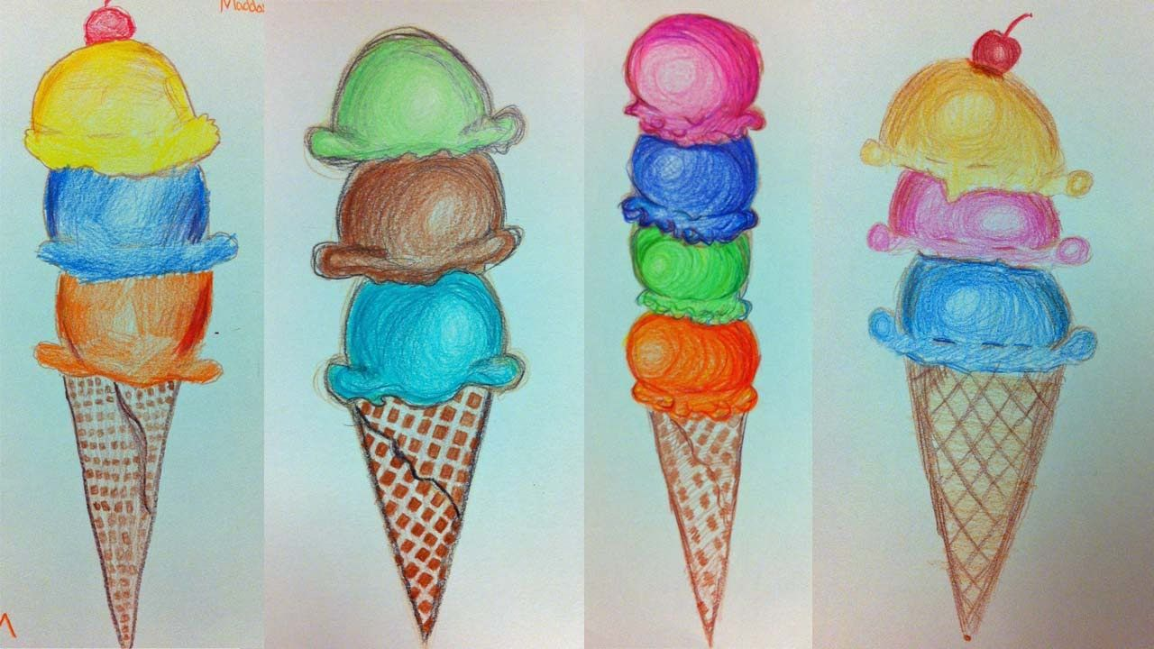Ice Cream Cone Colored Pencil Drawing | LIVE Summer Art ...