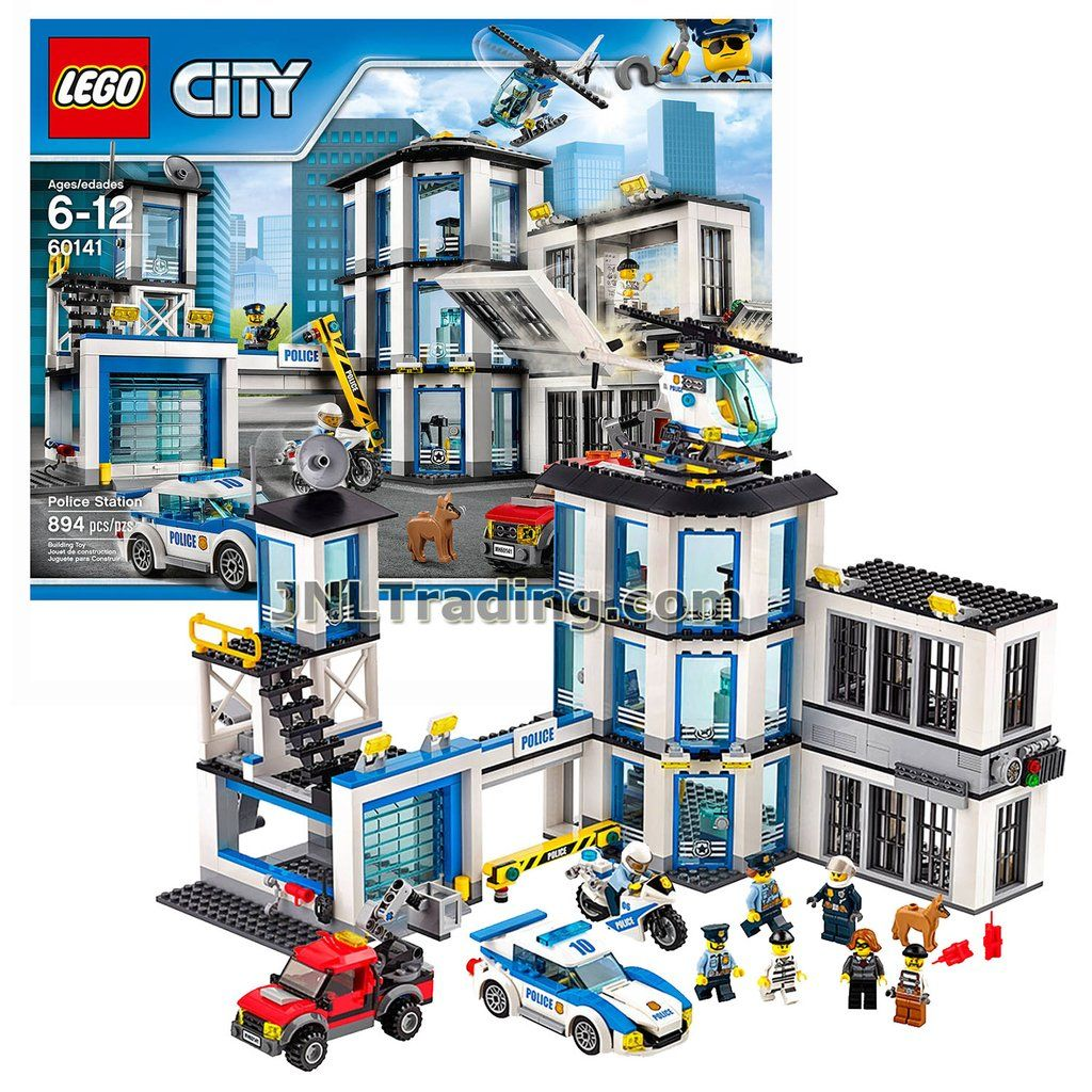 Lego Year 2017 City Series Set 60141 Police Station With Helicopter Police Car Motorbike Cherry Picker Truck Plus 4 Police Officers 3 Crooks And Dog Minif Police Station Police Cars Lego City Police