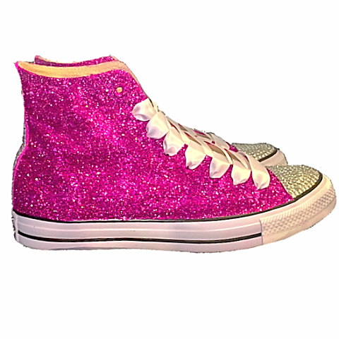 1b3f4afe841 Womens Glitter Crystals Converse All Stars Fucshia Pink Prom Wedding Bride  Shoes Sneakers