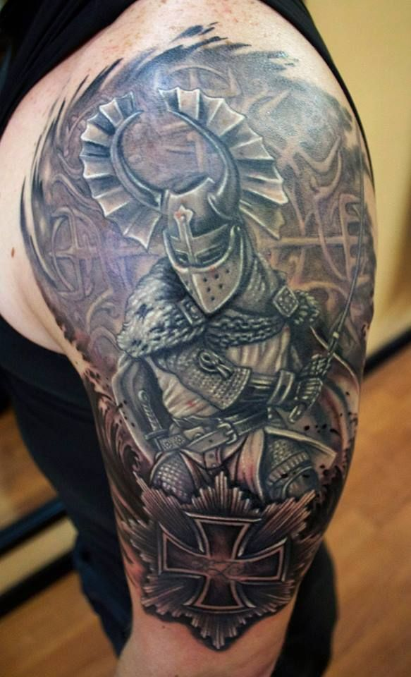 Teutonic knight done by sean ambrose at arrows and embers for Big sean tattoos