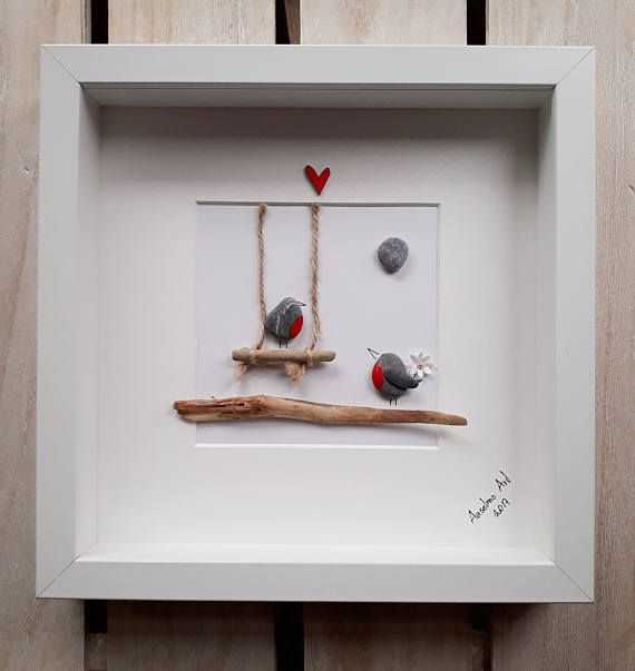 Wedding gift, Robin pebble picture, Robins on a swing, Proposal Picture, Framed pebble art, Valentine's Day, Birthday gift, Engagement gift