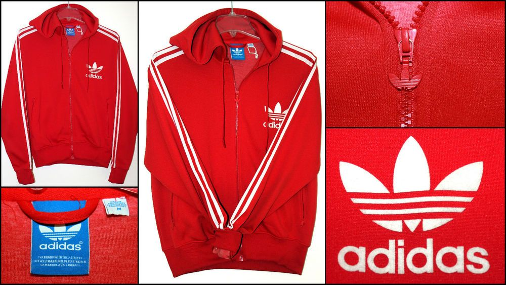 ADIDAS Tracksuit Hoodie Jacket Red White Trefoil The Brand with Three Stripes M