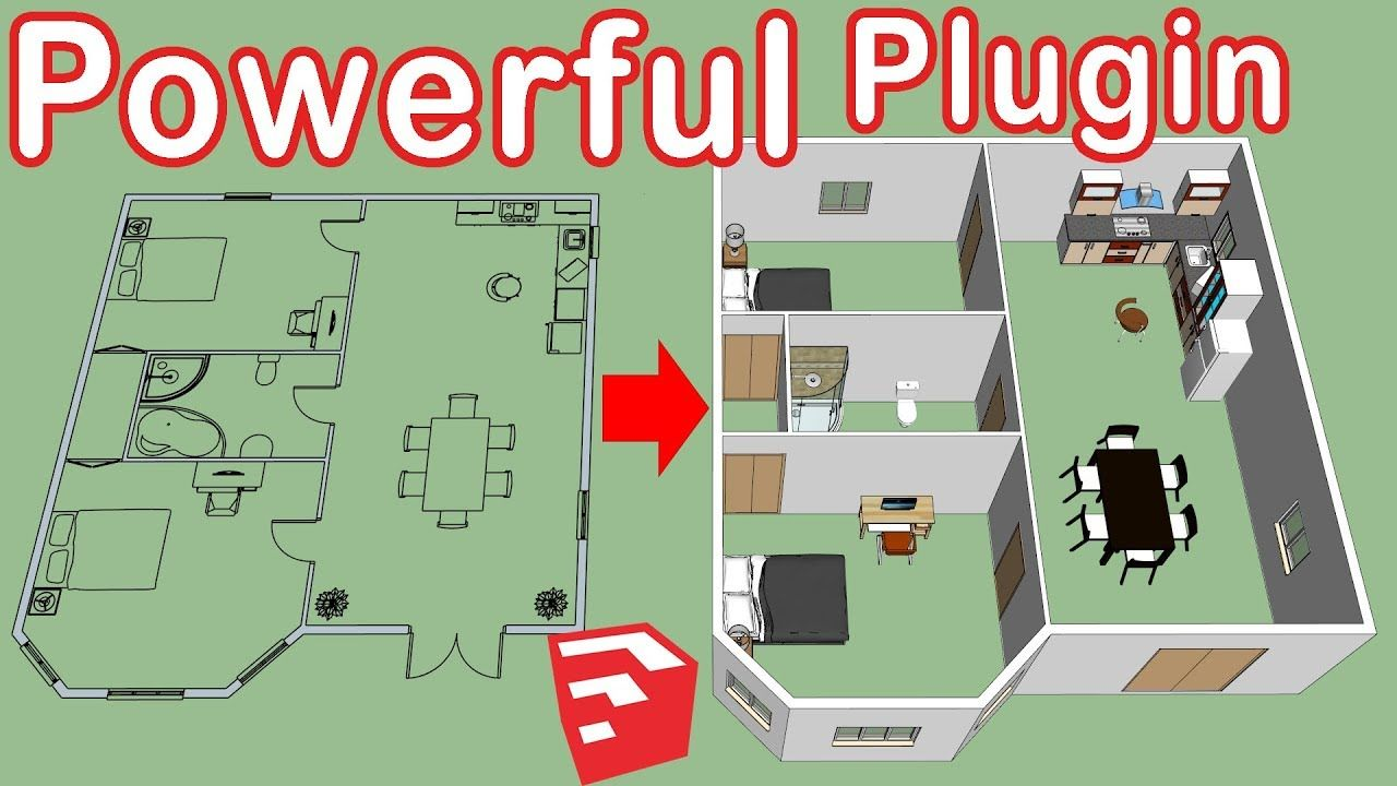 How To Use Dibac In Sketchup Floor Plan To 3d Youtube Sketchup