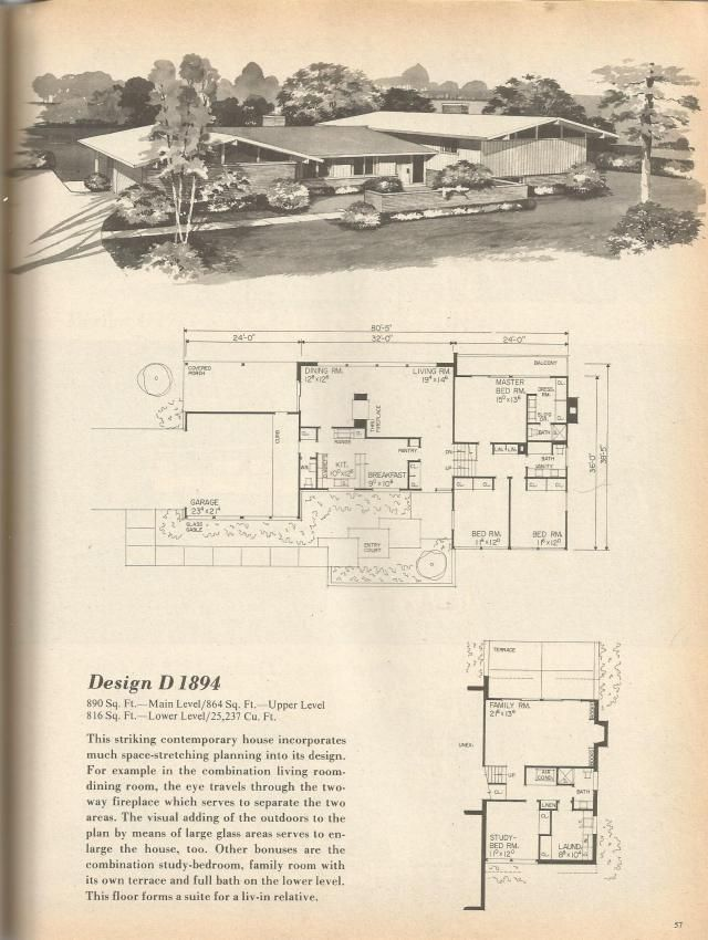 Vintage house plans mid century homes 1970s floor plans for 1970s house floor plans