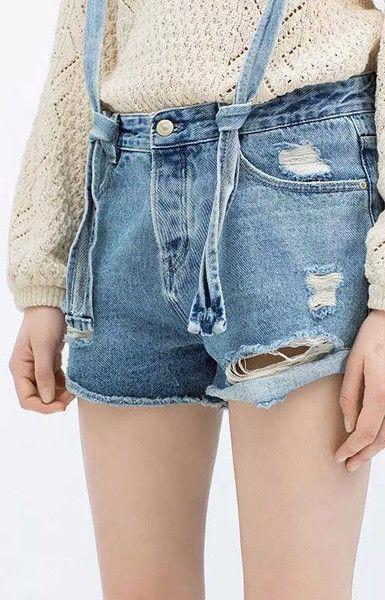 Suspenders Denim Shorts
