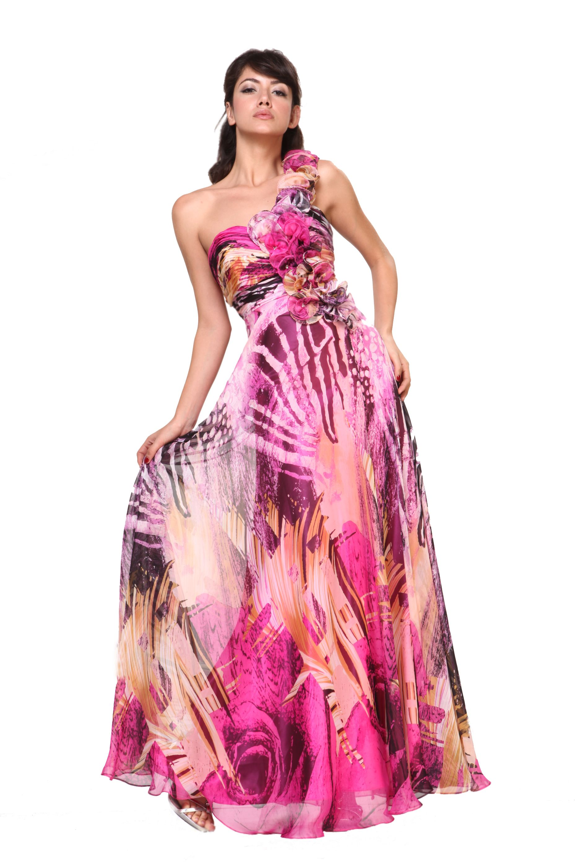 Gorgeous printed chiffon frilled detail one shoulder empire