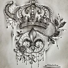 dessin unique crayon projet tatouage couronne dentelle fleur de lys tatoo pinterest. Black Bedroom Furniture Sets. Home Design Ideas