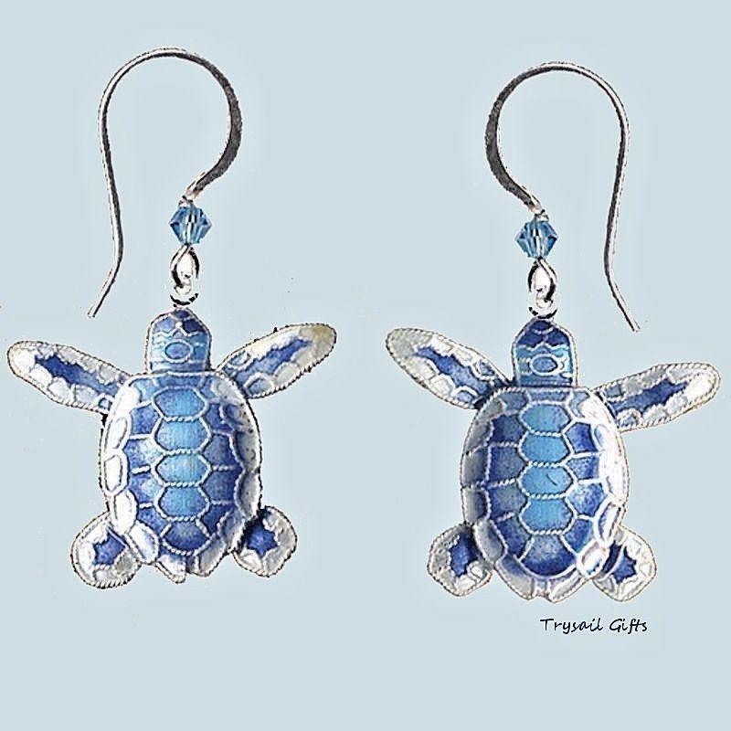 Sea Turtle Hatchling Enameled Wire Earrings