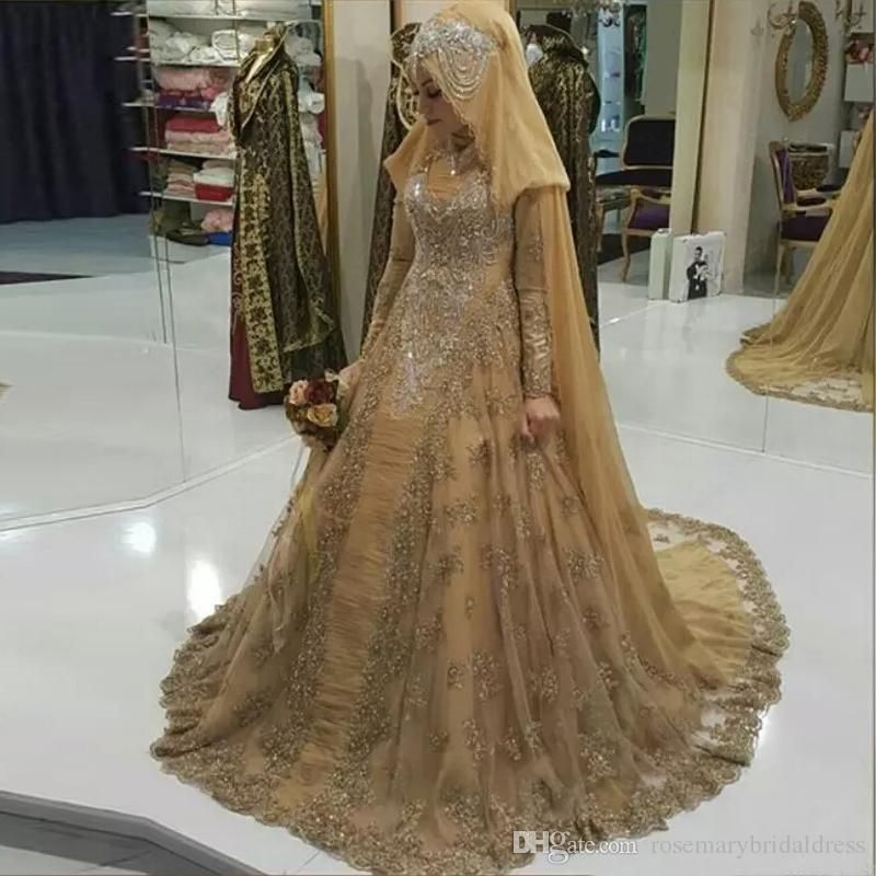 Gold Gorgeous Long Sleeve Wedding Dresses with Queen Wrap Lace Bling Bling  Saudi Arabia Bridal Weeding Gowns Vestido De Noiva Wedding Dress 2017  Muslim ... 136a93aece26