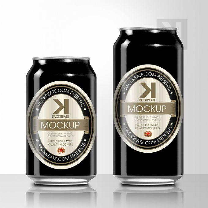 Packreate Beer Can Psd Mockup Black Beer Can Beer Beer Packaging