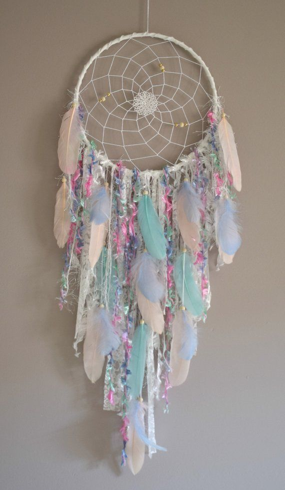 Large Mint and Pink Dream Catcher, Boho Wall Hanging Tapestry Decor, Dreamcatcher Boho Bedroom Wall  Hanging Decor, Mint Pink Blue #dreamcatcher