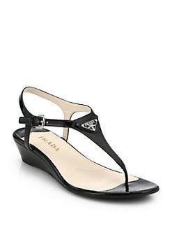 bb6b290b514 Prada - Patent Leather Wedge Thong Sandals