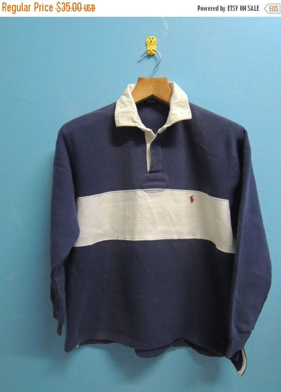 Discount 15% 90's Vintage Polo Rugby By Ralph Lauren Long Sleeve Sweatshirt  Polo Shirt Urban Fashion Size M