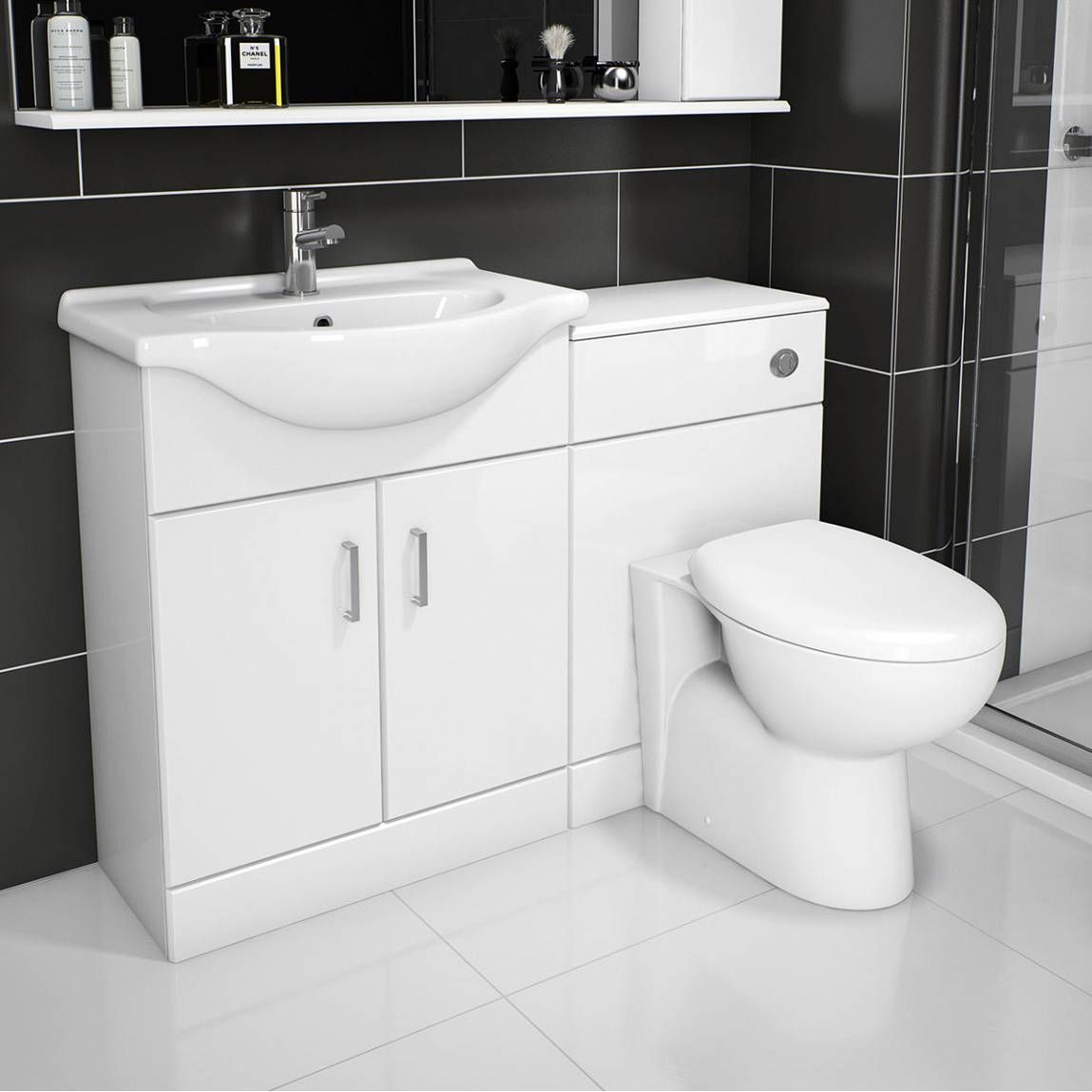 Sienna Milo White Gloss Combination Vanity Unit Small Bathroom Layout Bathroom Furniture Bathroom