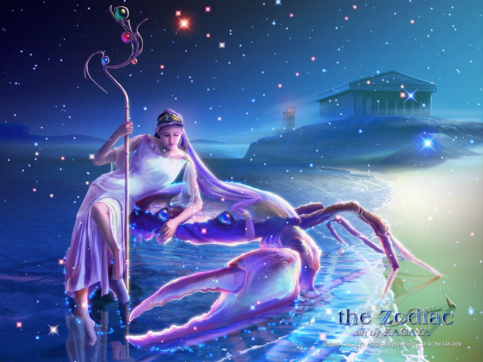 Astrology Artwork Kagaya Fantasy Art Kagaya Wallpaper Kagaya Zodiac Signs 1600 1200 Zodiac Signs Cancer Astrology Cancer Zodiac Art