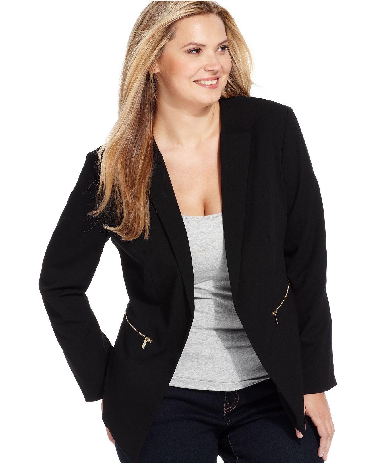 Calvin Klein Plus Size Jacket, OpenFront Blazer Plus