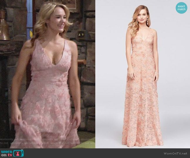 9105dc70 Xscape 3D Floral Applique Lace A-Line Gown worn by Hunter King on The Young  & the Restless