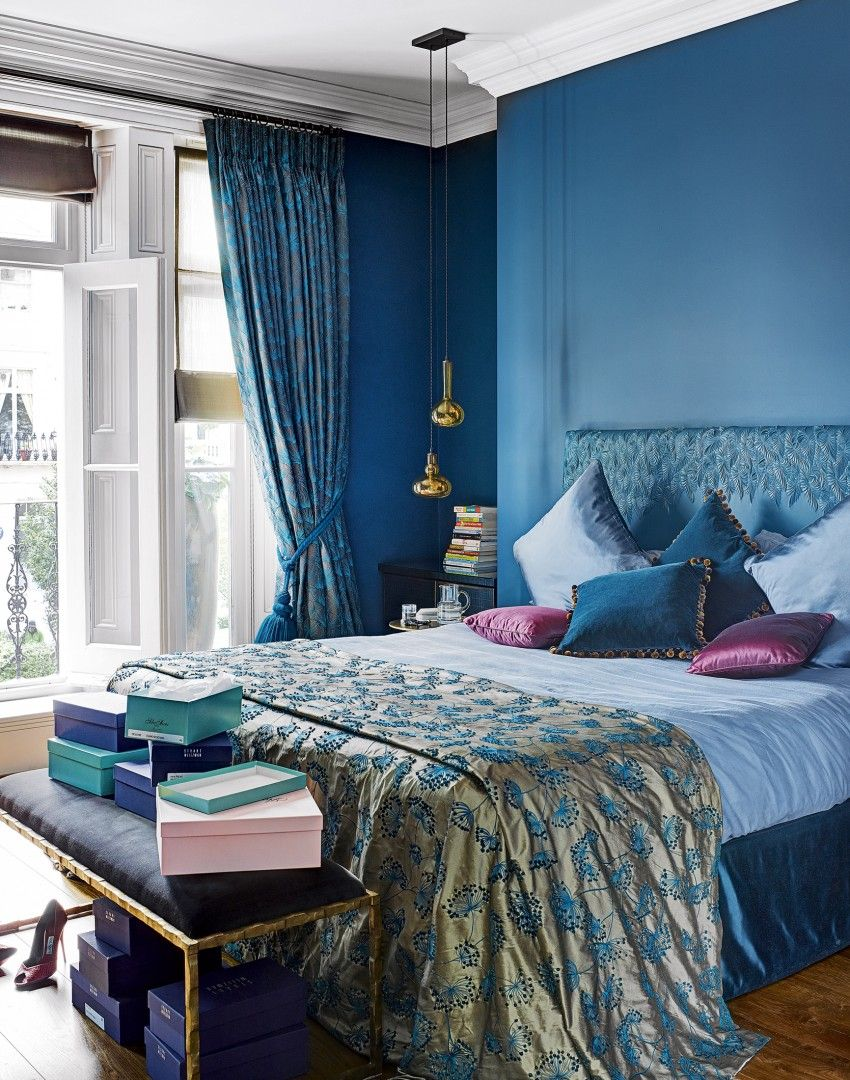Modern blue bedroom with Moroccan themed fabrics [minus pink, plus ...