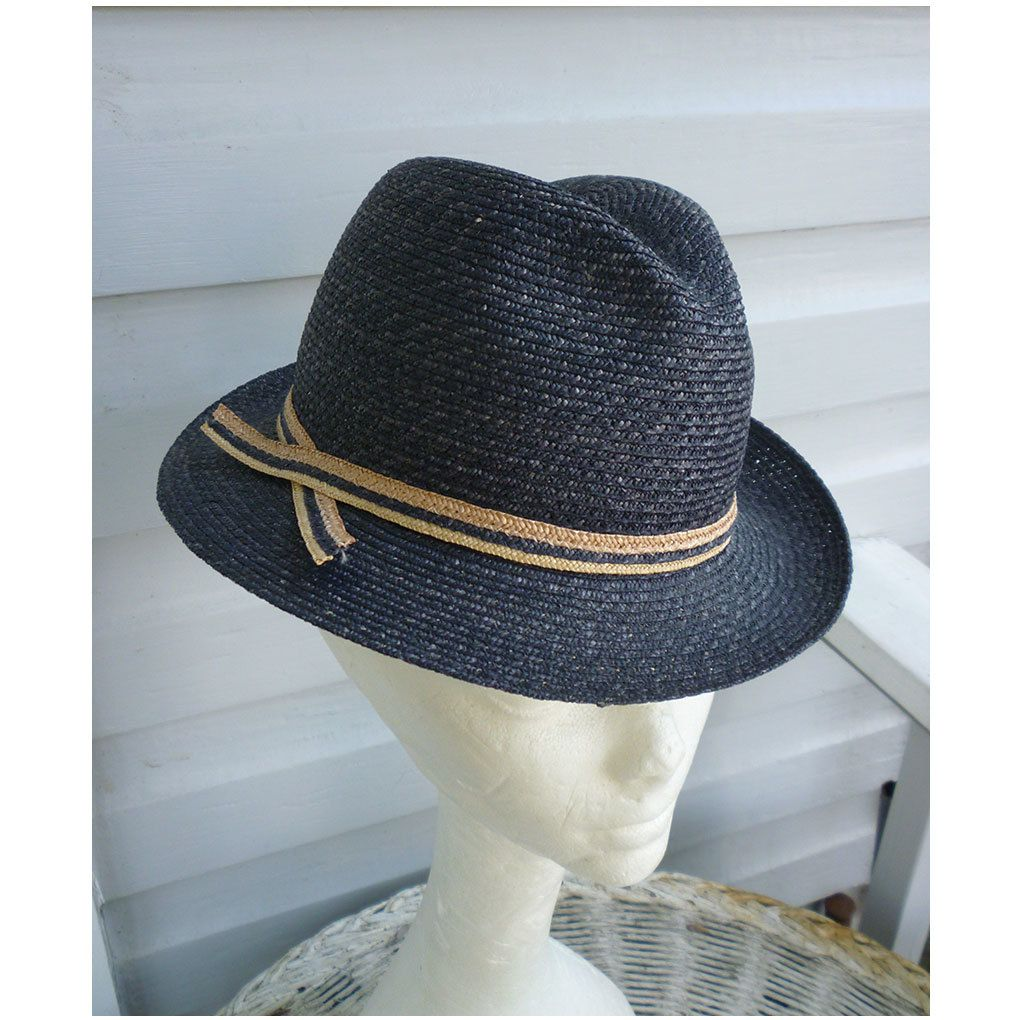 6edb5da57892e Exclusively For Lord   Taylor Navy Blue Straw Ladies Fedora Hat ...