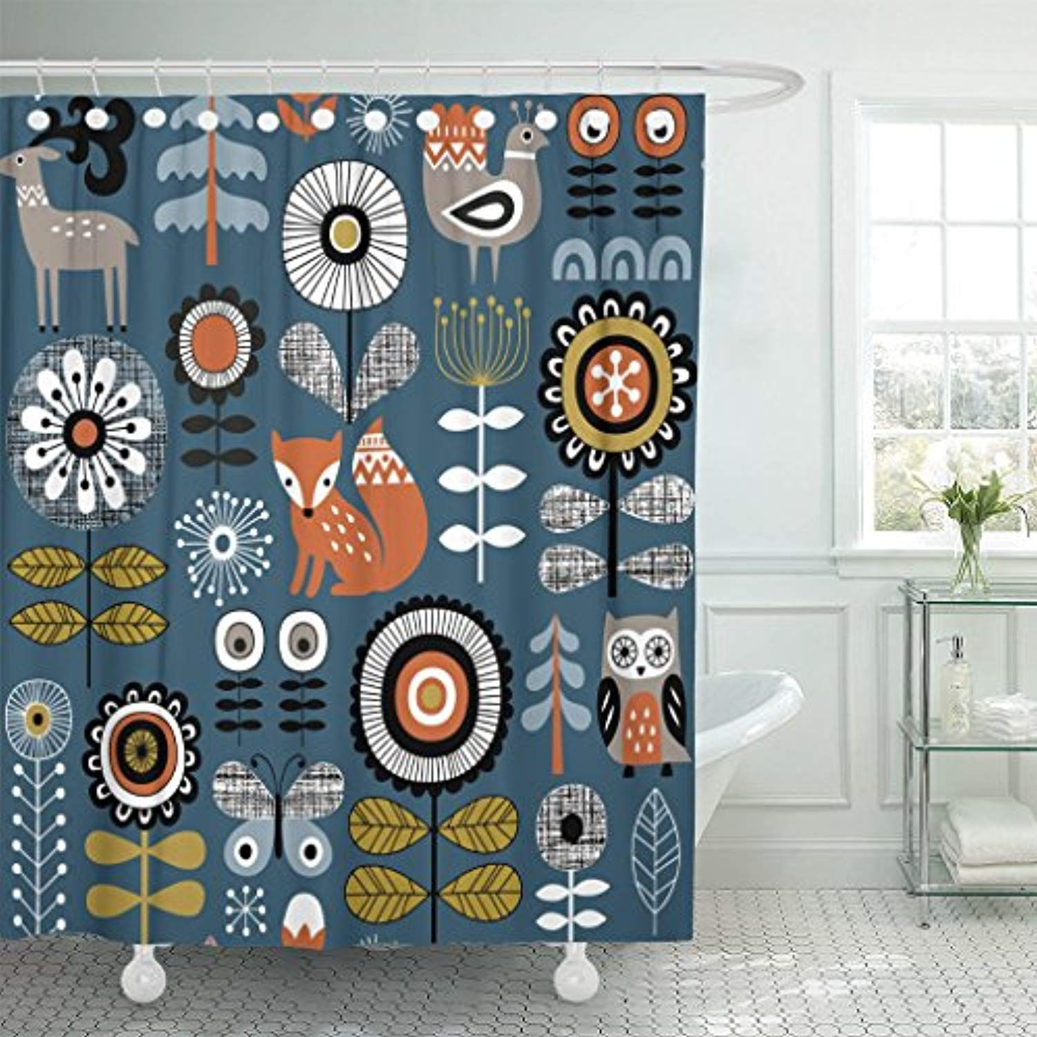 Tompop Shower Curtain Dark Blue Scandinavian Drawing Of Flowers