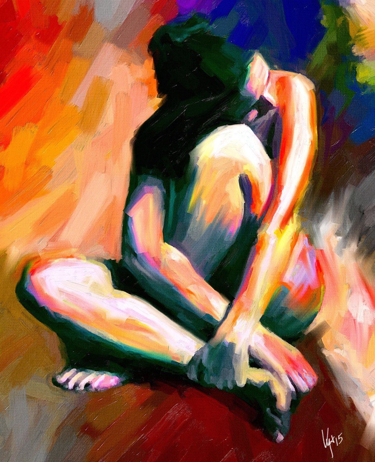 abstract paintings of a naked woman