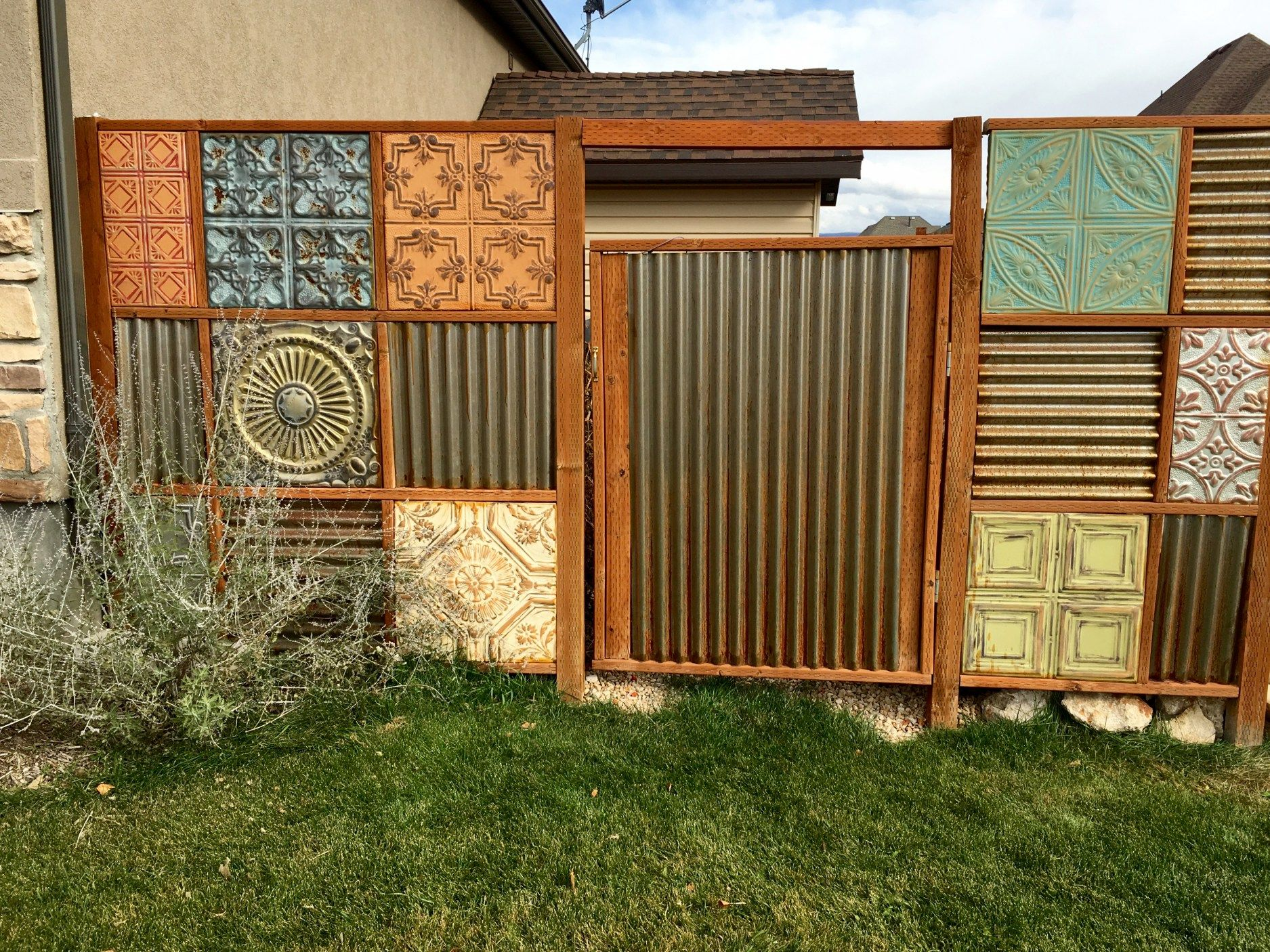 sheet metal privacy fence. Corrugated Metal Fence Update, 3 Years Old Now, See How The Steel Is Rusting And Showing Off Its Patina. Funky With Ceiling Tile Details Sheet Privacy G