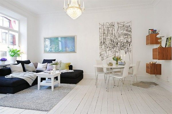 Small Apartment Room Decoration 2 With White Interior