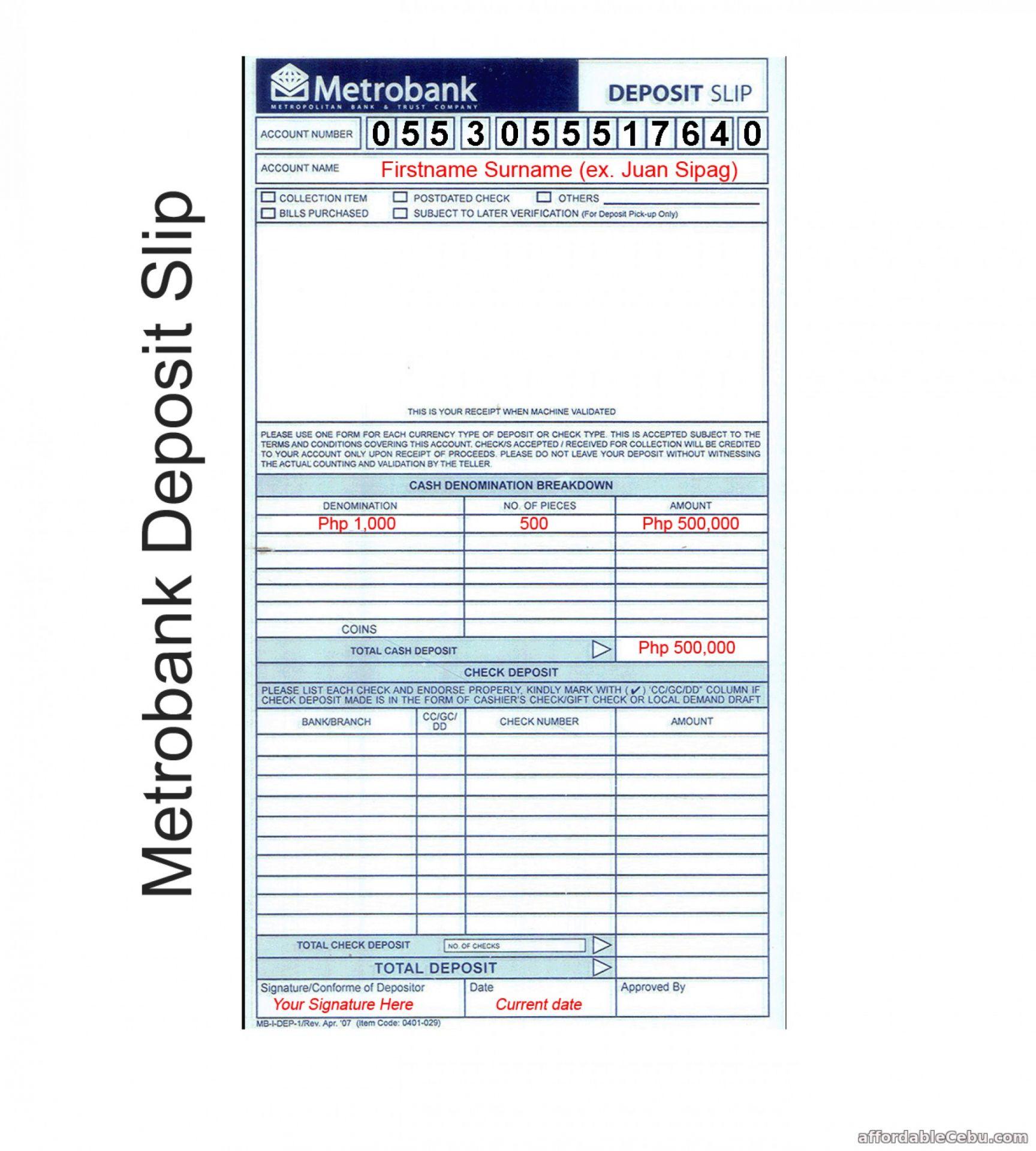 Get Our Image Of Checking Deposit Slip Template For Free Deposit Templates Slip