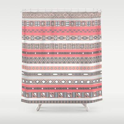 Aztec Print Peach Rose Salmon Grey Shower Curtain By RexLambo